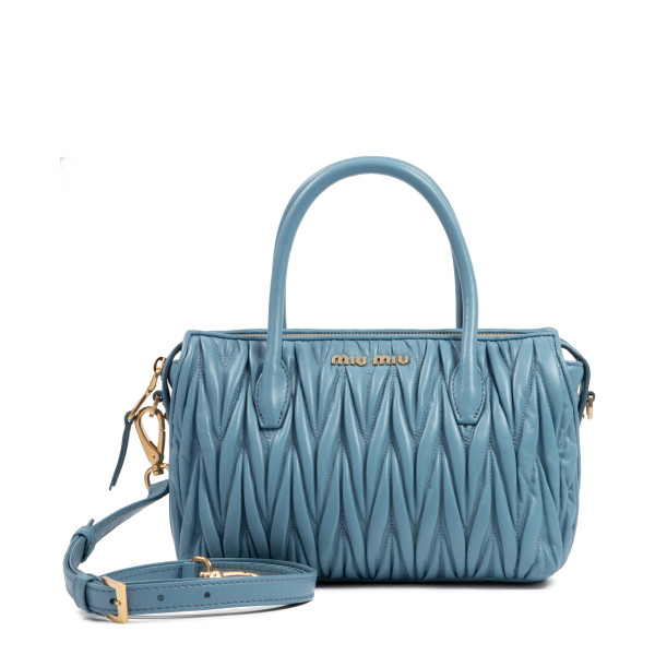 Dusty blue matelassé small handbag