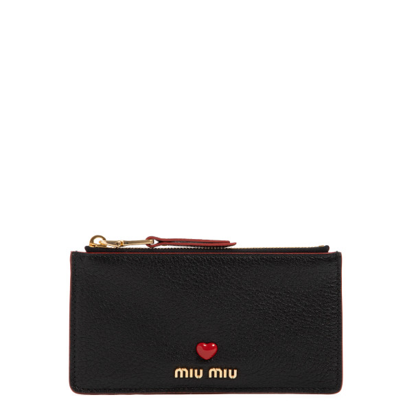 Madras Love black zipped card-holder