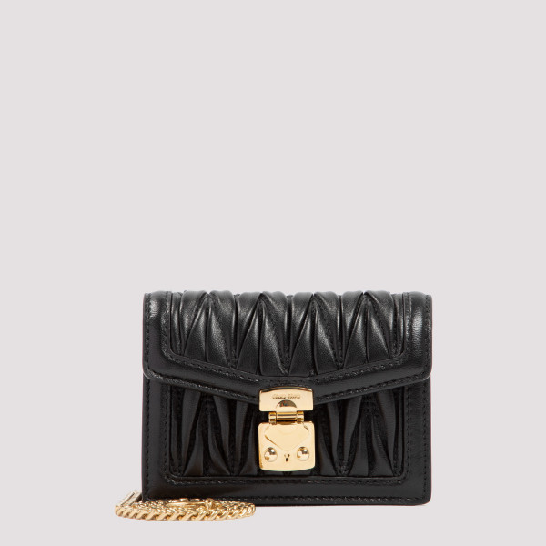 Black matelassé micro bag