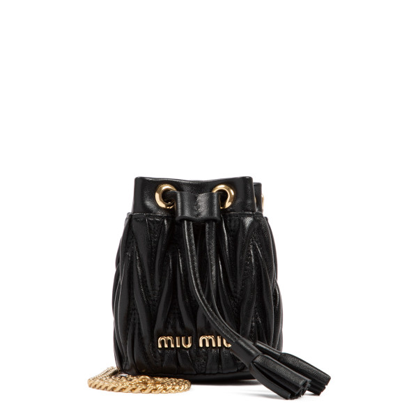 Black matelassé micro bucket bag
