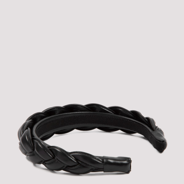Black braided leather headband