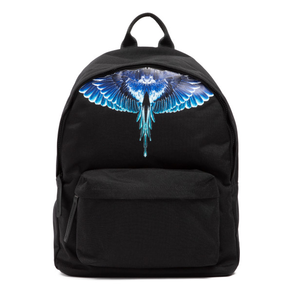 Black backpack with blue wings