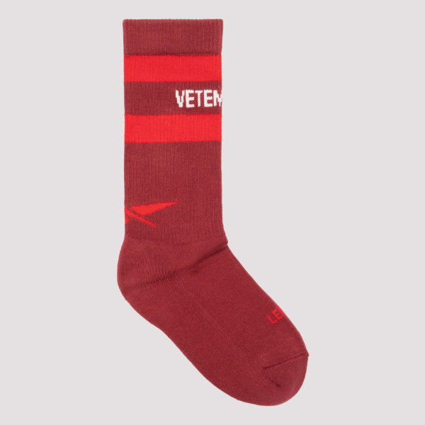 Burgundy cotton socks with...