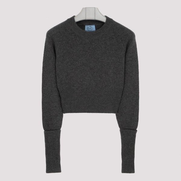 Gray cashmere cropped sweater