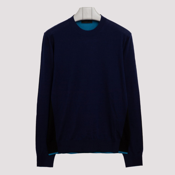 Blue tricolor wool sweater