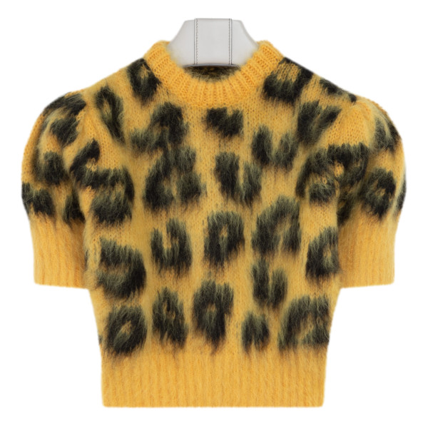 Yellow animalier cropped sweater