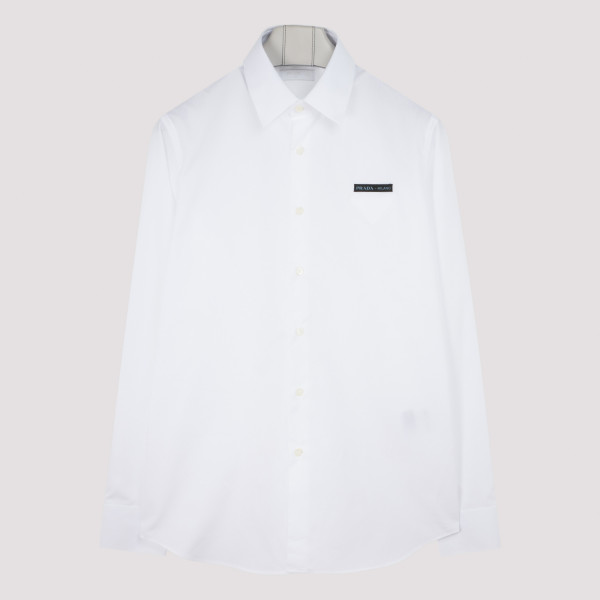 PRADA WHITE COTTON SHIRT WITH LOGO