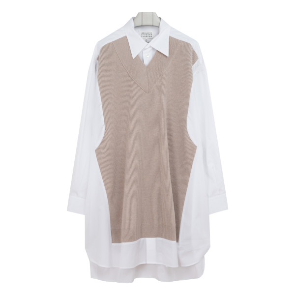 Beige and white Heavy Knitwear Shirt