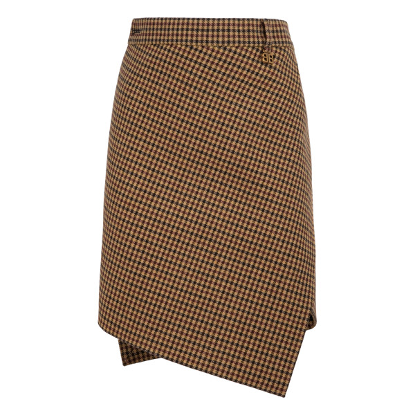 Wool check twisted skirt