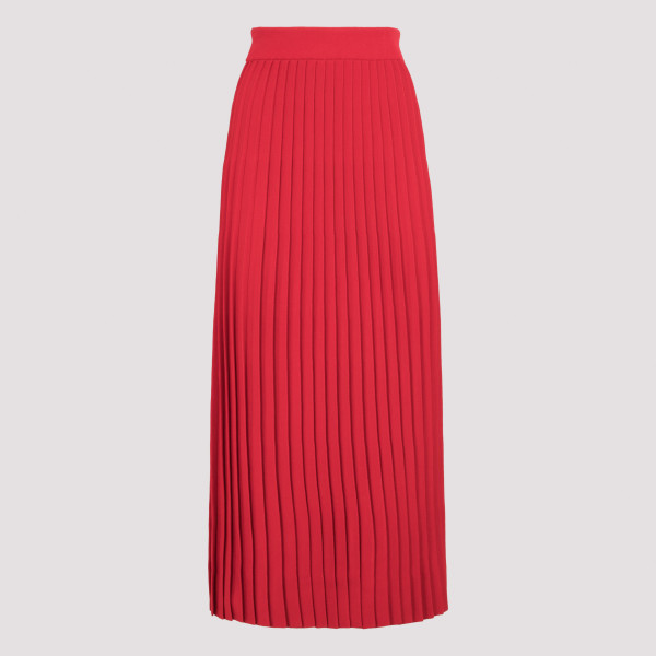 Red pleated skirt with logo