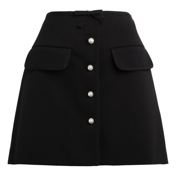 Black grain de poudre wool skirt