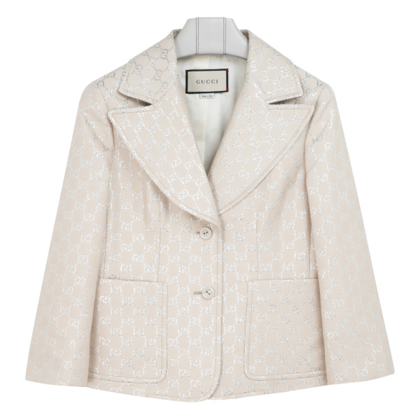 White light GG lamé jacket