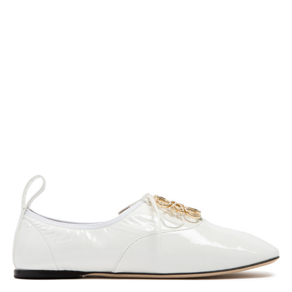 White patent soft derby shoes