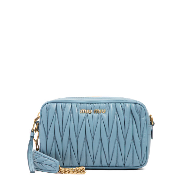 Light blue matelassé camera bag