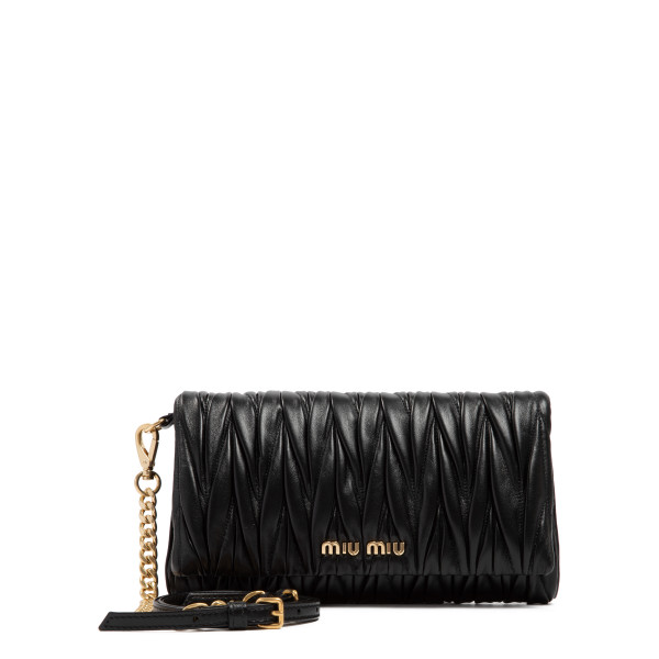 Black matelassé shoulder bag