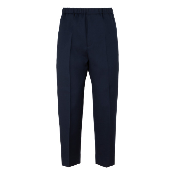 Navy pleat-front pants