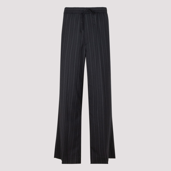Black wool pinstripe pants