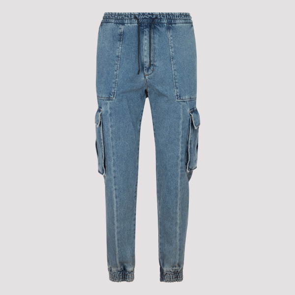 Blue denim cargo pants