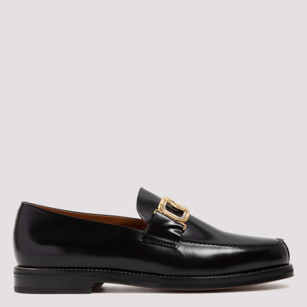 Lanvin SWAN BLACK LEATHER LOAFERS