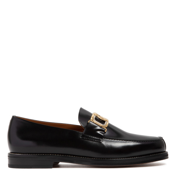 Swan black leather loafers