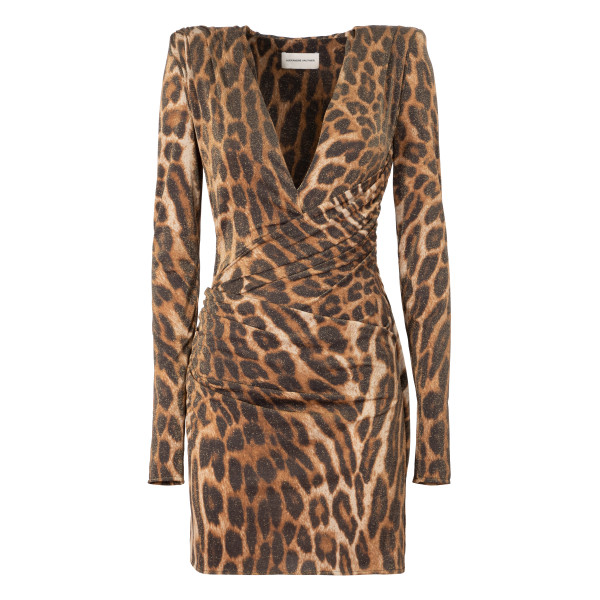 Leopard draped mini dress