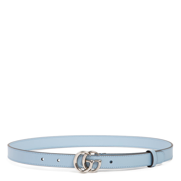 Pastel blue leather thin belt