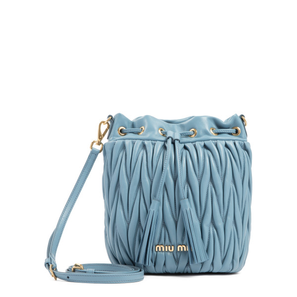 Light blue matelassé leather bucket bag