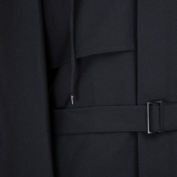 P33 WOOL BLACK TRENCH BELTED
