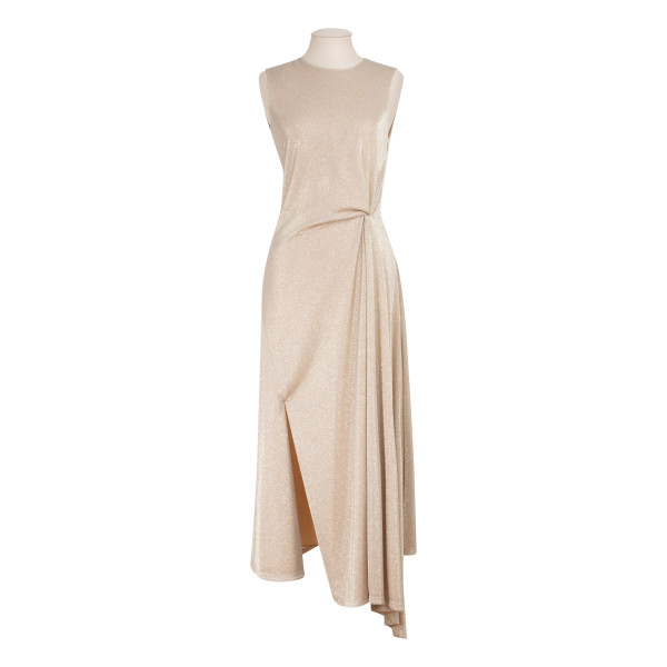 Sand lurex draped dress