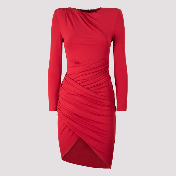 Red stretch jersey mini dress