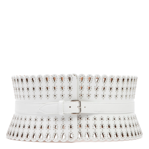 White laser-cut teardrop leather corset belt