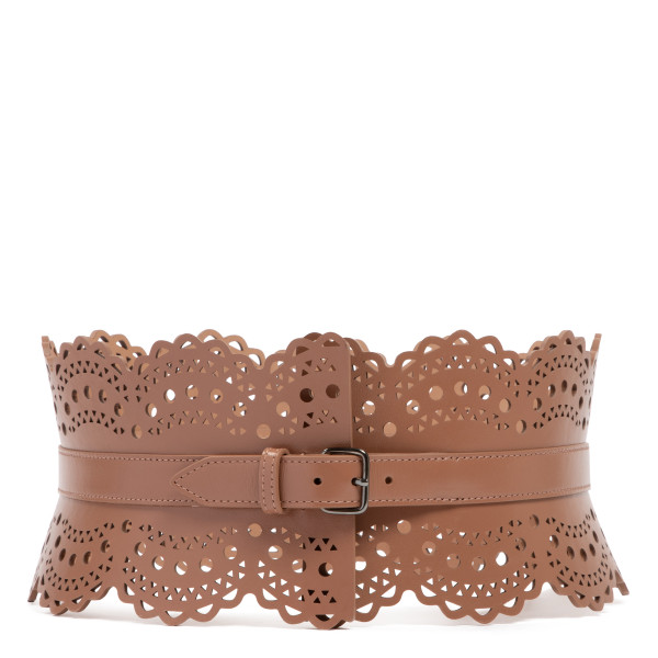 Tobacco openwork leather corset belt