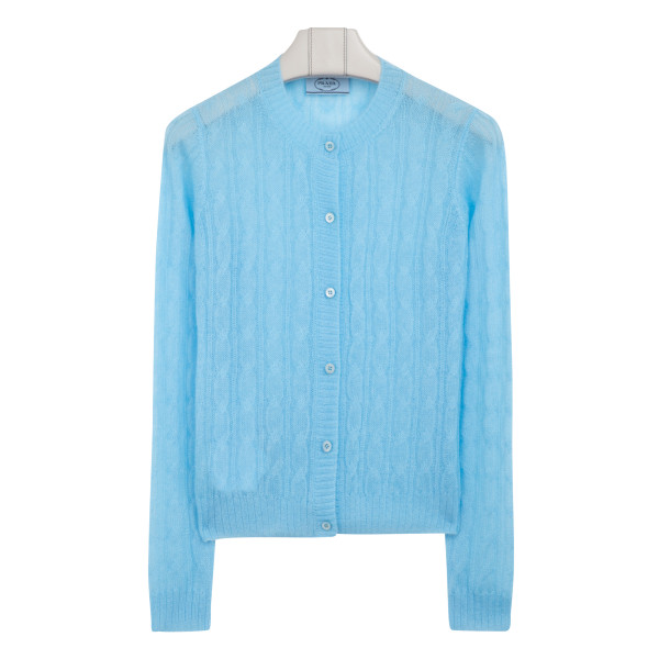Blue cable knit cardigan