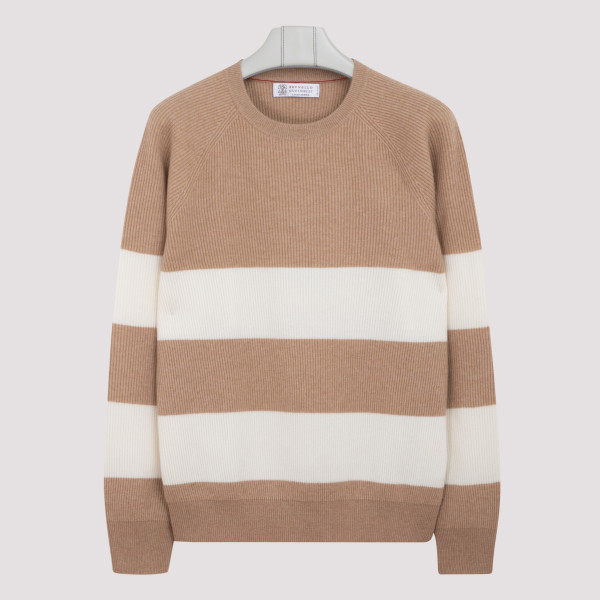 Camel striped cashmere sweater