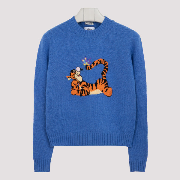 Miu Miu Sweaters BLUE WOOL SWEATER WITH TIGRO