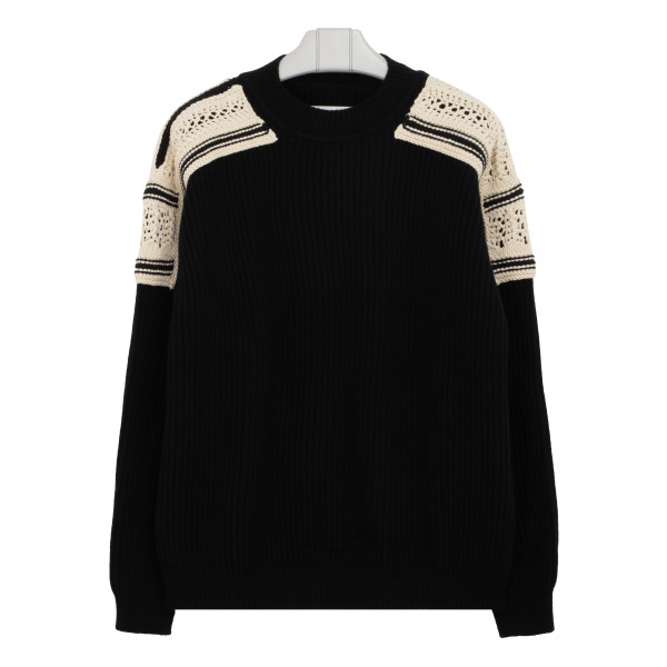 Black wool sweater with embroideries