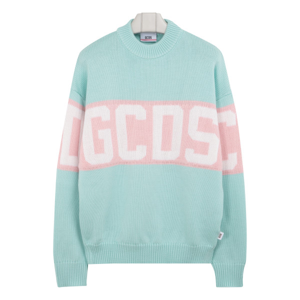 Logoed aqua green sweater