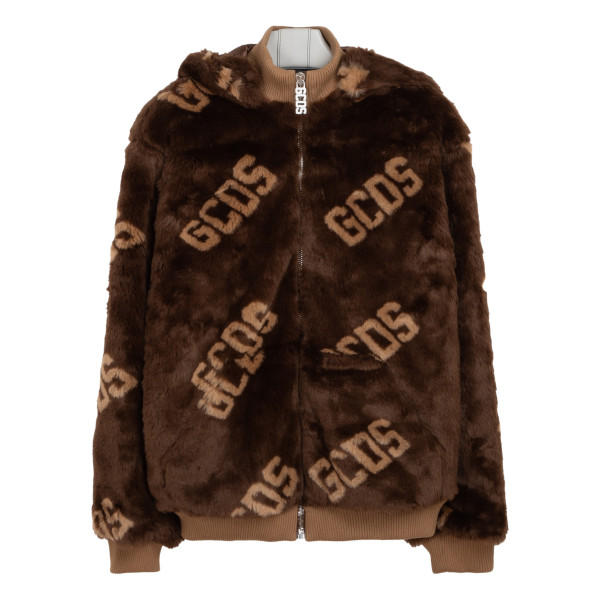 Logo brown eco-fur jacket