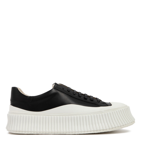 Black and white lace-up leather sneakers
