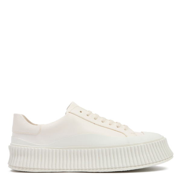 White lace-up leather sneakers