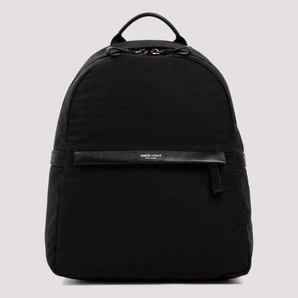 Black backpack with leather...