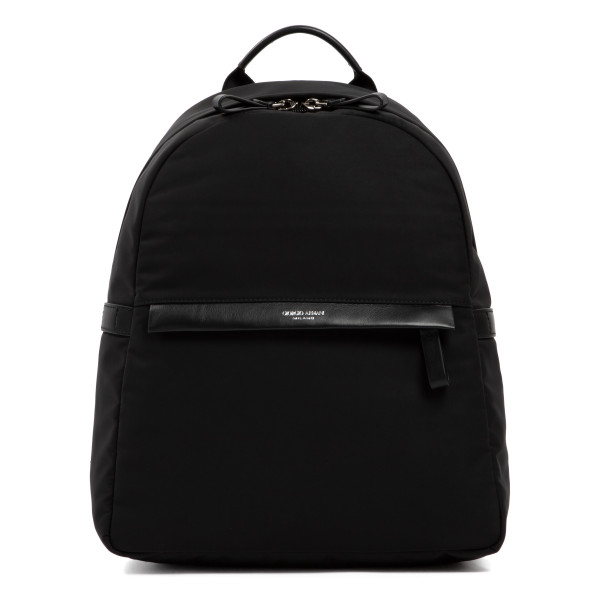Black backpack with leather trims