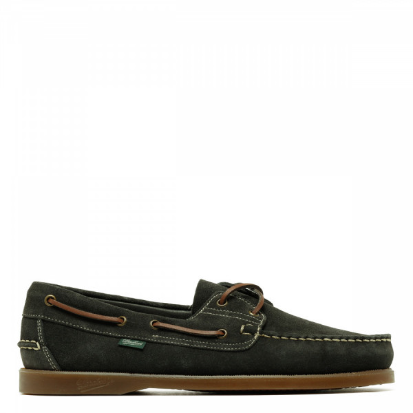 Barth green suede boat shoes