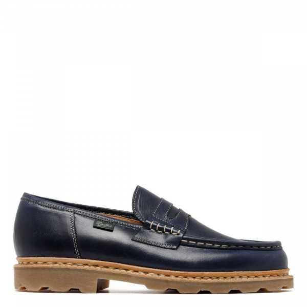 Reims navy leather loafers