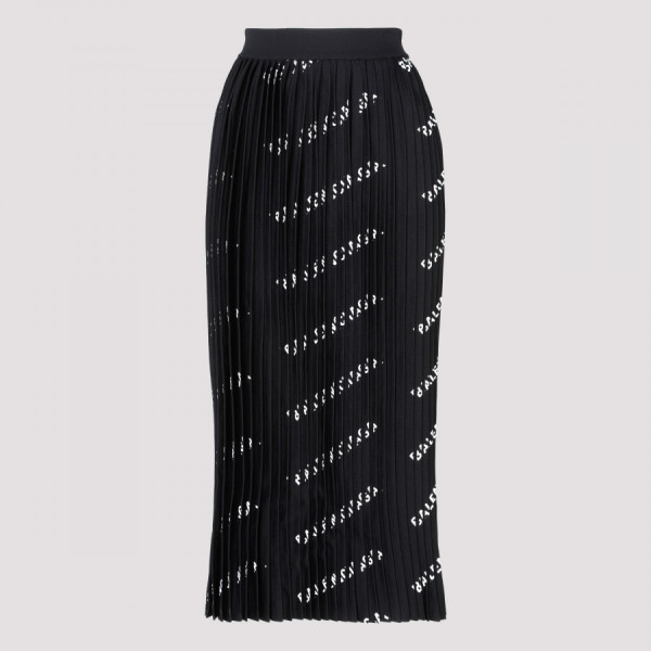 Black logo printed pleated...