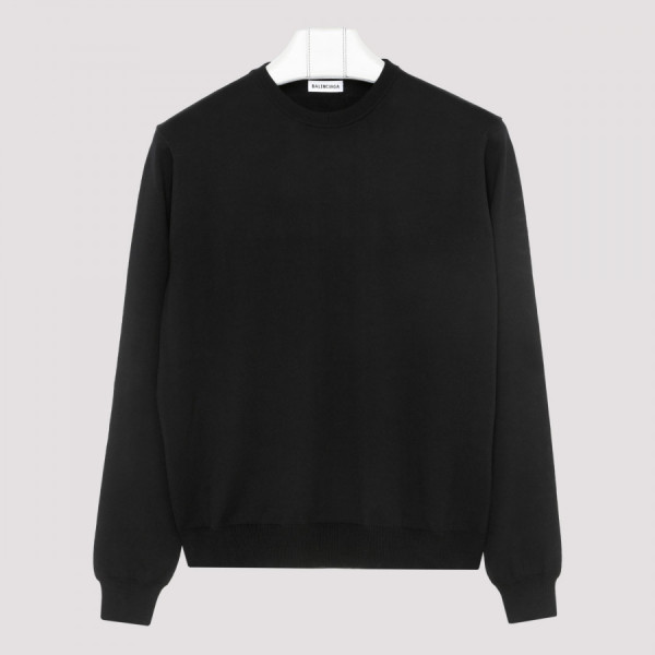 Black wool sweater with...