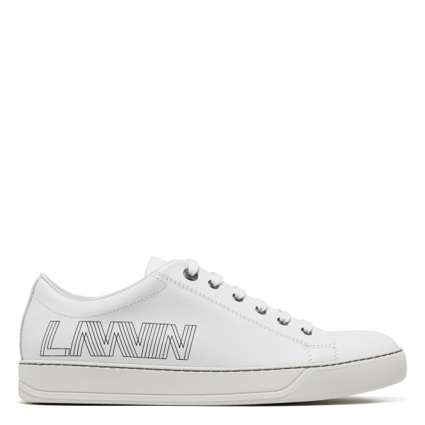 3D logo white leather sneakers