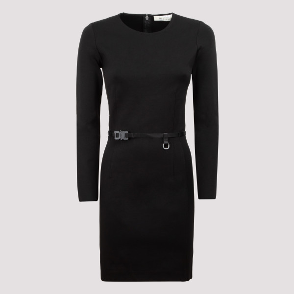 Black belted mini dress
