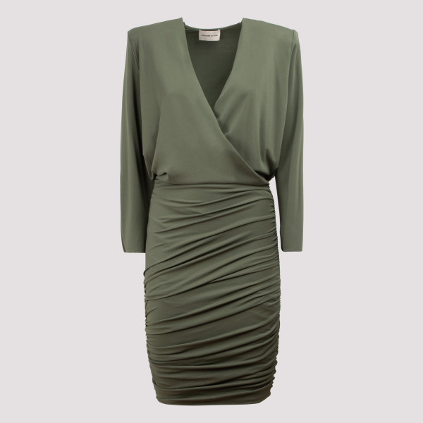 Olive green draped dress
