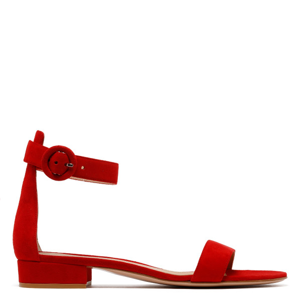 Red suede Versilia sandals